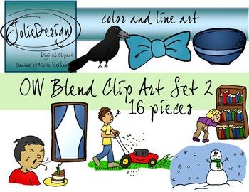 OW Blend Phonics Clip Art Set 2 - Color and Line Art 16 pc set