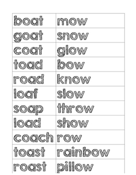OW/OA Words and Recording Sheet