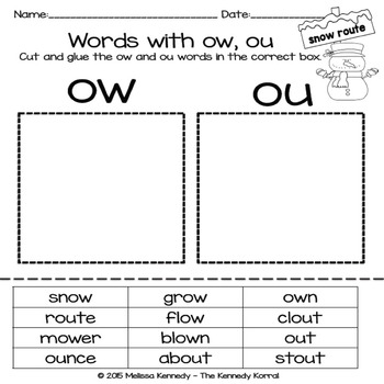 Word Work: Digraphs - OW, OU