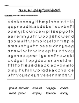 OW Sounds Word Search