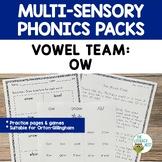 Vowel Team: OW   Orton-Gillingham Multisensory Phonics Activities