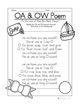 ow and oa poem song by sparkling minis teachers pay teachers. Black Bedroom Furniture Sets. Home Design Ideas