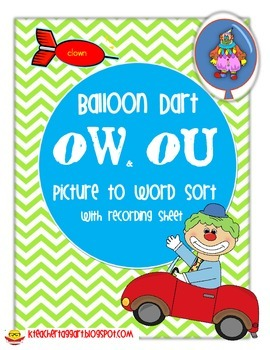 Sort OW and OU Balloon Dart Picture to Word