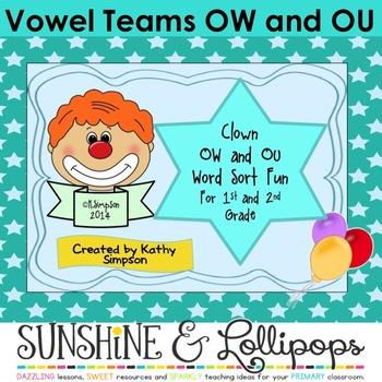 Vowel Teams Word Work Phonics: OW and OU Word Sort