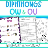 OW and OU diphthongs posters and worksheets