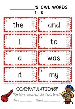 OWL 1 - 100 Sight Words / High Frequency  Bundle