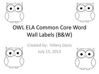 OWL 4th Grade ELA Word Wall
