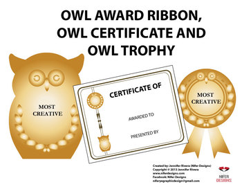 OWL AWARD RIBBON, CERTIFICATE AND TROPHY