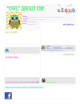"""""""OWL"""" About Me Facebook Student Profile"""