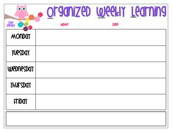 OWL Agenda - Organized Weekly Learning
