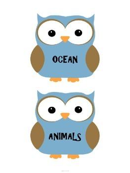 OWL BOOK BOX LABELS