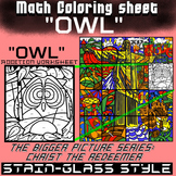 Math Colouring Worksheet (Addition) -Owl