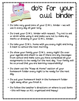OWL Binder Cover, Rules, and Table of Contents