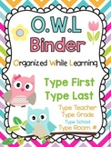 OWL Binder Covers **EDITABLE**