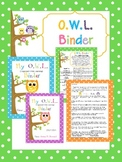 EDITABLE OWL Binder Covers/Parent Explanation/Binder Rules