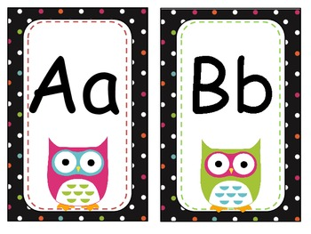OWL Black Colorful Polka Dot Nameplates, Labels and ABC Wall Cards