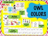 OWL COLORS - flashcards, wall display, big book, worksheets, word wall words