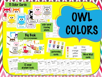 OWL COLORS - flashcards, wall display, big book, worksheets, word wall words