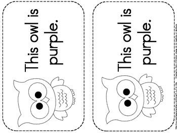 owl colors flashcards wall display big book worksheets word wall words. Black Bedroom Furniture Sets. Home Design Ideas