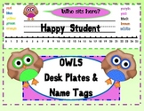 OWL  DESK PLATES AND Name Tags / Labels/ Back to School