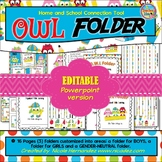 Homework Folder Cover - OWL Folder {EDITABLE VERSION}