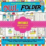 Homework Folder Cover - OWL Folder {EDITABLE VERSION}