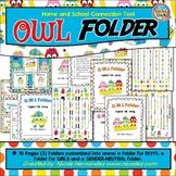 Homework Folder Cover - OWL Folder Home and School Connection Tool