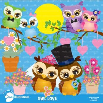 Clipart.  OWLS in LOVE Clip art, Digital images,  AMB-269