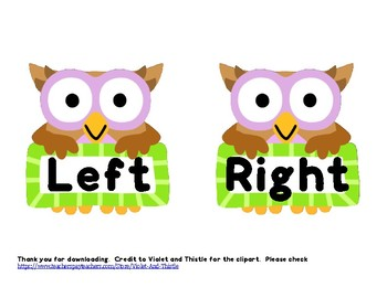 OWL Left and Right Direction Sign Label