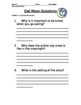 OWL MOON COMPREHENSION QUESTIONS