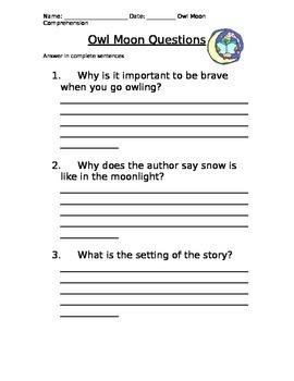 OWL MOON COMPREHENSION QUESTIONS