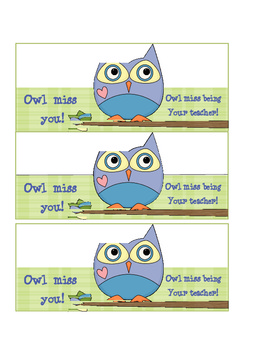 Influential image with owl miss you printable