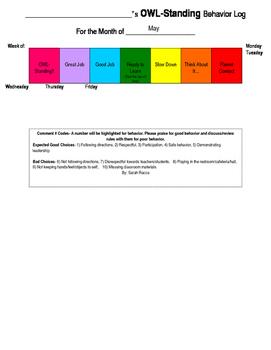 OWL Monthly Behavior/Conduct Chart Calendar
