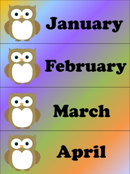 OWL Months of the Year Cards