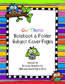 OWL Notebook Folder Subject Cover Pages