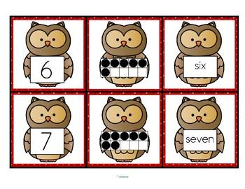 OWL Number Cards 0-10 - Numerals, 10-Frames, Number Names FREE