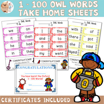 Oxford (OWL) Sight Words 1 - 100 Take Home Sheets