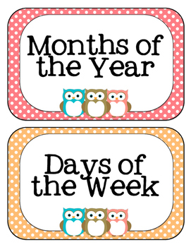 OWL SCHEDULE CARDS- DAYS OF WEEK & MONTHS OF YEAR