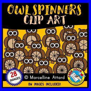 OWL SPINNERS CLIPART: FALL CLIPART: OWL CLIPART: AUTUMN CLIPART