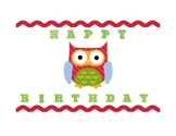 OWL-THEMED BIRTHDAY CHART, EDITABLE