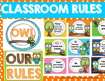 OWL THEMED CLASSROOM RULE POSTERS(EDITABLE)