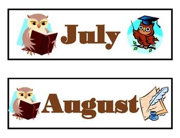 Owl Calendar Set! Owl Bulletin Board! Owl Theme! Owl Days of the Week!