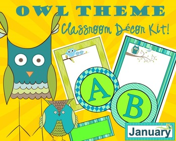 OWL Theme Classroom Decor Kit