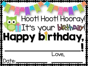 OWL Themed Birthday Certificates & Labels