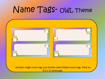 OWL Themed Name/Desk Tags