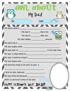 OWL about My Dad ~ Father's Day Printable