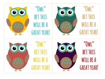 """""""OWL"""" bet this will be a great year! (Student Welcome Gift Tag)"""