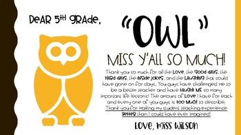OWL miss you - editable PDF