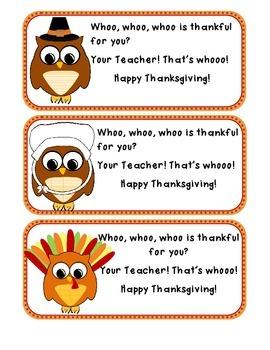 OWL themed Thanksgiving Label