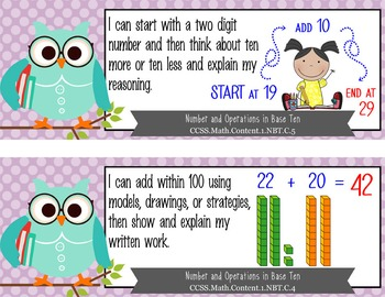 """OWLS - 1st Grade Common Core Standards """"I CAN"""" format / posters"""